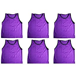 BlueDot Trading Adult Sports Pinnies Scrimmage Training Vests (6-Pack), Purple