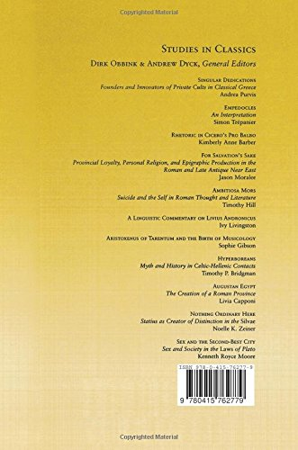 Sex and the Second-Best City: Sex and Society in the Laws of Plato (Studies in Classics)