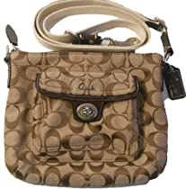 Hot Sale Coach 45026 Khaki Pocket Signature Stripe Turnlock Swingpack Nwt