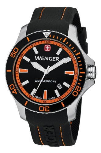 Wenger 641.102 Mens Sea Force Swiss Watch, Black/Red, Silicone
