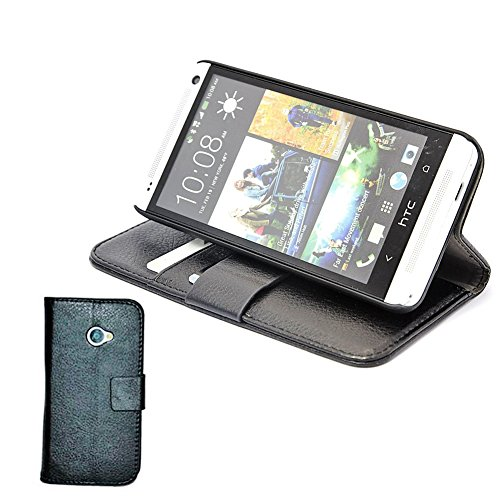 Mylife Ninja Black {Simple Design} Faux Leather (Card, Cash And Id Holder + Magnetic Closing) Slim Wallet For The All-New Htc One M8 Android Smartphone - Aka, 2Nd Gen Htc One (External Textured Synthetic Leather With Magnetic Clip + Internal Secure Snap I