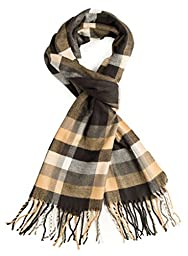 Plum Feathers Super Soft Luxurious Cashmere Feel Winter Scarf (Brown-Beige Plaid)