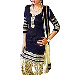 Reet Glamour Women 's Cotton Unstitched Navy Blue Embroidered Punjabi Suit