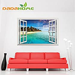 New Creative personality 3d Mural False windowbeach Scenery Vinyl Living Room Bedroom Background art Home Decoration Wall sticker