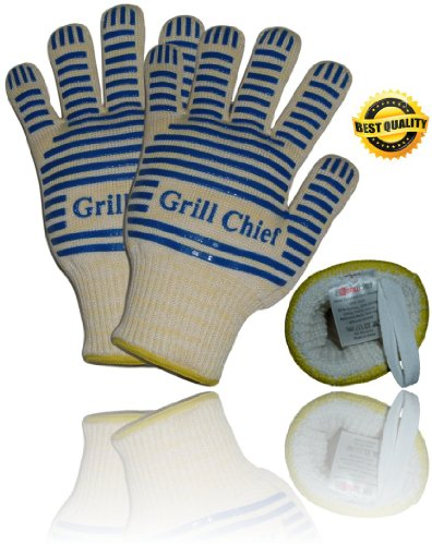 Best Heat Resistant Gloves: 5 Star Rated Premium Quality Fire And Flame Resistant, Perfect Five Finger Mitts For Barbecues, Kitchen, Oven, Cooking, Insulated By Nomex & Kevlar Fibers, Heatproof Gloves With Non Slip Silicone Pads Fit Men & Woman - Should B