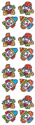 Jillson Roberts Prismatic Stickers, Clown Faces, 12-Sheet Count (S7226)