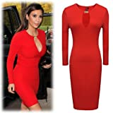 Miusol Womens Keyhole with Metal Buckle Open-Chest Bodycon Pencil Party Dress