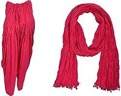 Bhagwati Craft Women's Cotton Regular Fit Patiala With Dupatta (Pink ,SD006 )