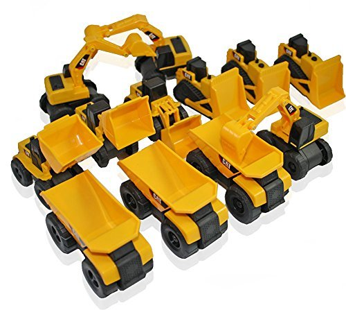 Toy State CAT Caterpillar Construction Toys Mini Machine set of 12 Assorted - Dump Truck, Bulldozer, Wheel Loader and Excavator- individually Packaged Free-Wheeling Vehicles Great As Cake Toppers (Toystate Mini Machines compare prices)
