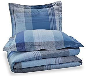 Pinzon Lightweight Cotton Flannel Duvet Set - Full/Queen, Blue Plaid