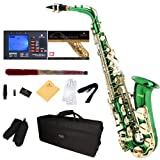 Mendini by Cecilio MAS-GL+92D+PB Green Lacquer E Flat Alto Saxophone with Tuner, Case, Mouthpiece, 10 Reeds and More