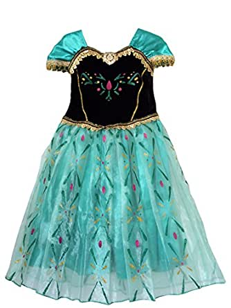 IWISHME Inspired By Frozen Coronation Day Princess Anna Costume Dress Floral