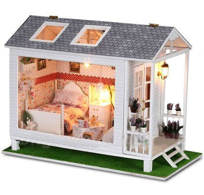 Big Dollhouse Miniature Diy Wood Frame Kit With Light Model Sweet Promise Gift Ldollhouse118-D68