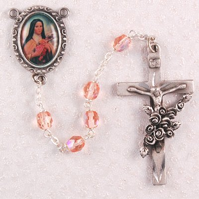 St. Therese Rosary, Boxed, Patron Saint Catholic Saint, Pink Rosary