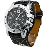 Mens Leatheroid Big Face Quartz Wrist Watch Watches Classic Style New