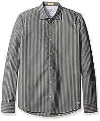 Rosé Pistol Men's Long Sleeve Victorville Striped Shirt, Slate, M
