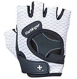 Harbinger Women\'s FlexFit Weightlifting Gloves with Flexible Cushioned Leather Palm (Pair), White, Small