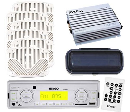Marine New Enrock 200W Radio Usb Sd Aux Input 3 Pairs Of 6X9 Speakers +Amp White