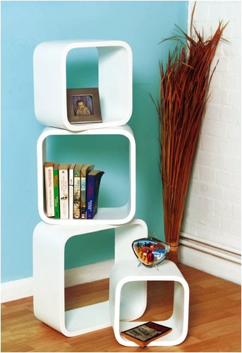 Retro Floating Shelves Bookcase Cubes Shelving