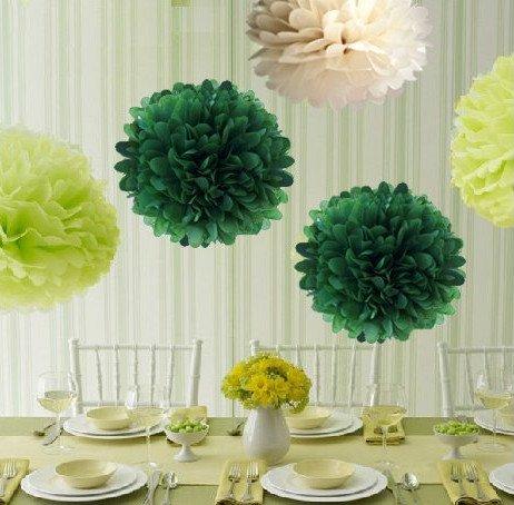 DREAMPARK カラフル フラワーポンポン ペーパーフラワー キット ウエディング 結婚式 パーティー 3色 合計10個セット (緑色3個 黄緑3個 白色4個, 35cm)DR045