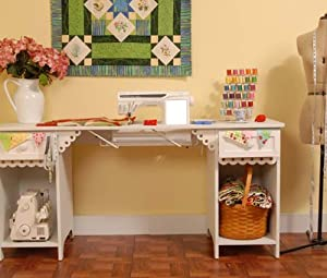 Arrow Olivia Vintage Sewing Machine Cabinet Sewing Craft Table With Base Shelves Drawers White