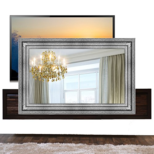 Handmade Framed Mirror to Turn Your Existing TV to Hidden Mirrored Television that Blends into Your Home or Business Decor (40 Inch, Regency Silver)