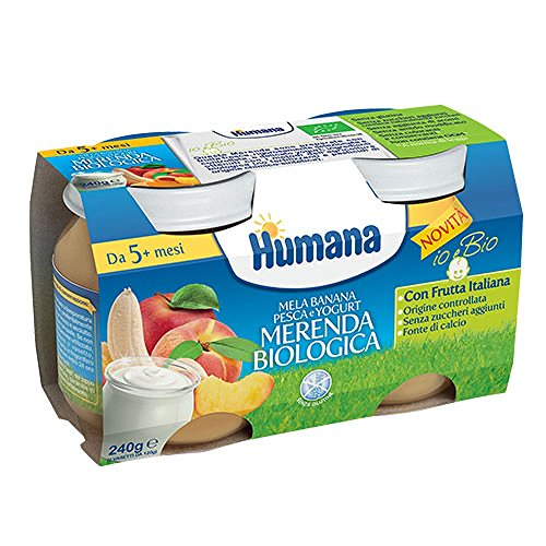 Humana merenda biologica mela banana pesca yogurt