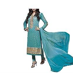 Admyrin Women Dark Aqua Georgette Dress Material