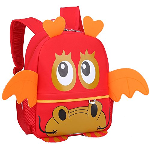 Pavel ® Cartoon Baby Dragon Backpack Cute Children School Bag (Red)