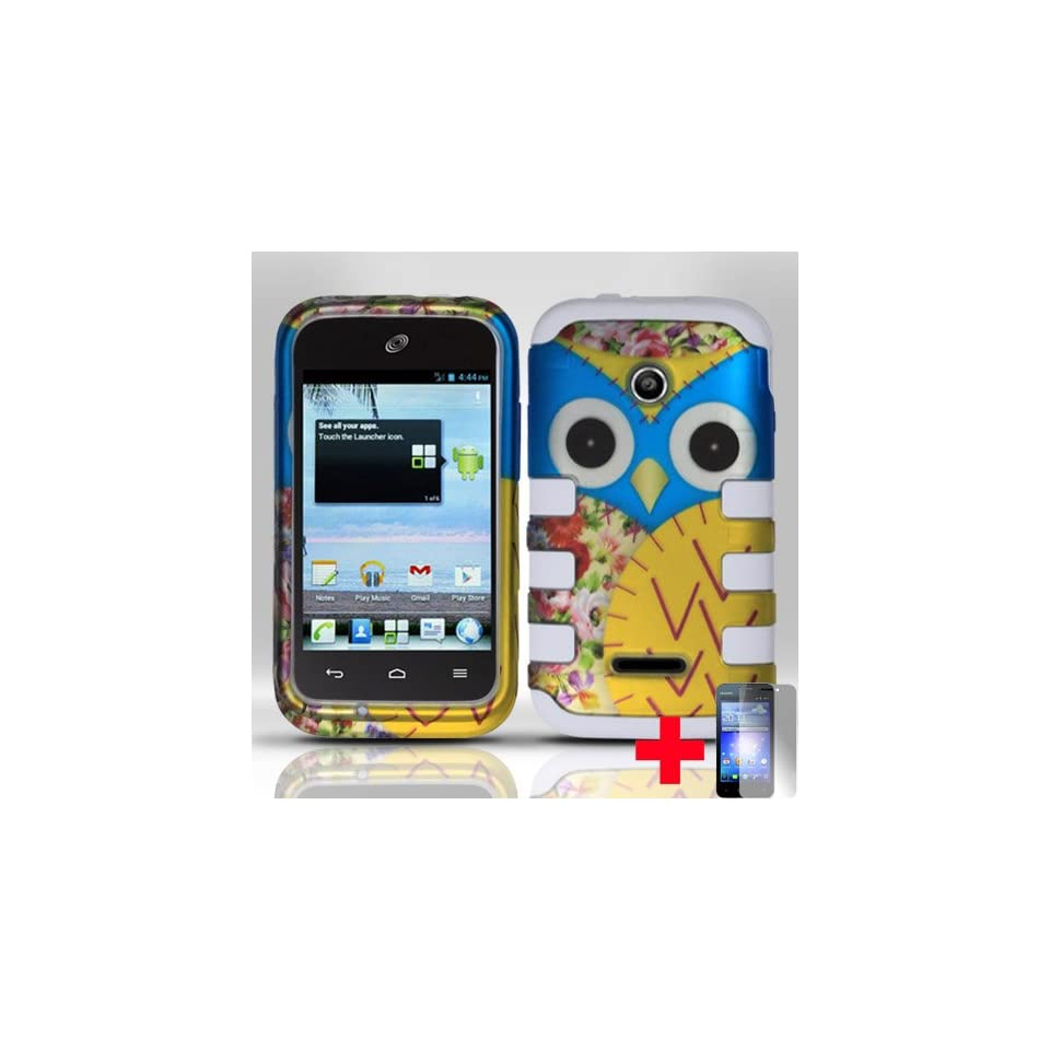 Huawei Inspira H867G Prism 2 II U8686 Glory H868cYELLOW BLUE OWL HARD PLASTIC DESIGN & WHITE SILICONE CELL PHONE CASE + SCREEN PROTECTOR, FROM [TRIPLE8ACCESSORIES] Cell Phones & Accessories