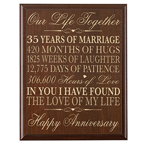Wedding Anniversary 35 Years Gifts: 35th Wedding Anniversary Wall Plaque Gifts For Couple