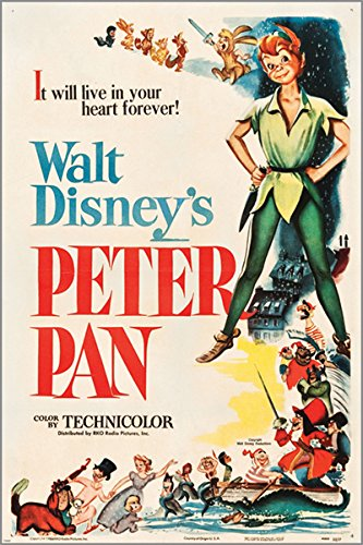 PETER PAN (RKO 1953) vintage movie poster WALT DISNEY musical KIDS 24X36 new - 2 TO 5 DAYS SHIPPING FROM USA 0