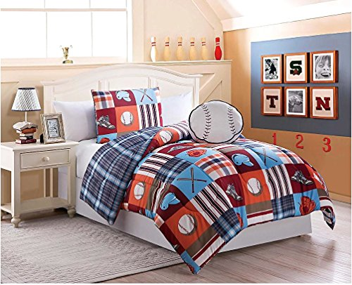 Baseball Boys Twin Comforter, Sham And Large Baseball Plush Pillow (3 Piece Bedding Set)