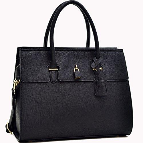 dasein-fashion-padlock-briefcase-satchel-handbag-tablet-ipad-bag-black
