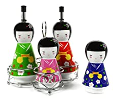 buy Geisha Ceramic Oil And Vinegar Dispensers, Salt And Pepper Shakers Cruet Set