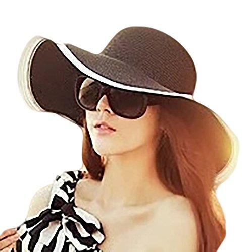 IL Caldo Womens Sun Hat Black   White Folding Floppy Derby Hat Wide Large  Brim Travel a86657ad0ac