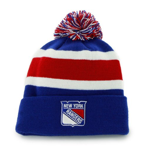 "New York Rangers Blue Cuff ""Breakaway"" Beanie Hat with Pom - NHL NY Cuffed Winter Knit Toque Cap at Amazon.com"