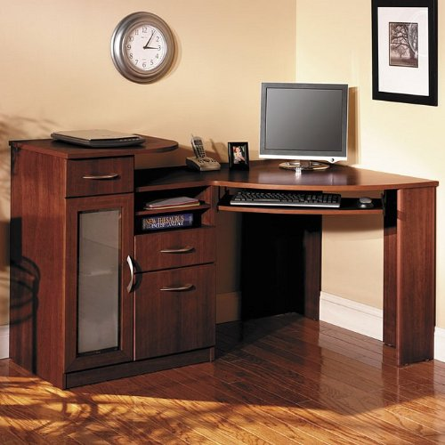 Cherry Finish Home Office Corner Workstation Computer Desk