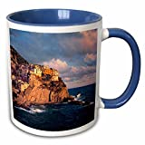 3dRose Danita Delimont - Cinque Terre - Italy, Manarola, Cliff houses, Cinque Terra - EU16 RER0083 - Ric Ergenbright - 11oz Two-Tone Blue Mug (mug_82183_6)