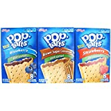 3 Pack! Pop Tarts UNFROSTED Variety Pack + Sanitizing Hand Wipes. Flavors Include: Blueberry, Strawberry, Brown Sugar Cinnamon. Bundle of 3- 8 Count Boxes with wipes, 1 of Each Flavor. Care Package