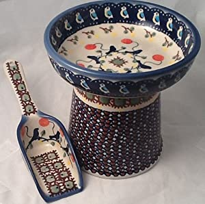 Polish Pottery Gift Set: Raised Cat Small Dog Dry Food Dish & Matching Kibble Scoop – Signature Limited Edition BE Bluebird
