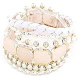 Shining Diva Fashion White Stack 'em up Bangle Bracelets For Girls