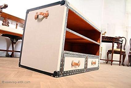 Schrankkoffer Tisch / Fernsehtisch / Medientisch / 2 Schubladen / 2 Fächer / Überseekoffer