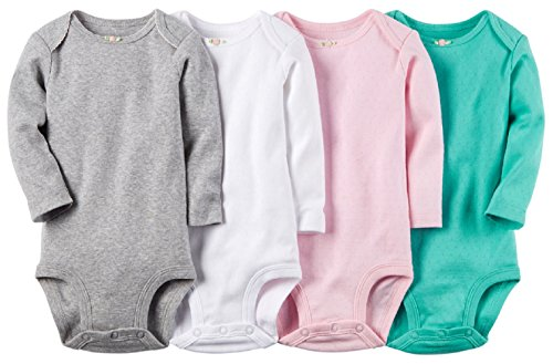 Carter's Baby Girls' 4 Pack Print Bodysuits (24 Months, Solid Assorted)