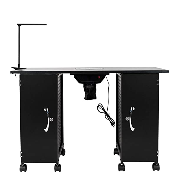Manicure Table Iron Frame,Nail Beauty Spa Salon Desk Equipment with LED Lamp,Hand Pad,Black(43.3''L x 16.9''W x 29.1''H) (Color: Black, Tamaño: (110 x 43 x 74)cm (L x W x H))