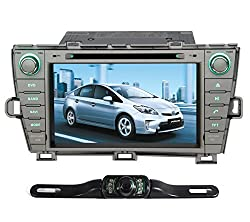 See Pumpkin Double Din 8 inch In Dash HD Touch Screen Car DVD Player GPS/SD/USB/BT/FM/AM Radio 8 Inch Touch Screen Stereo Navigation System Silver Color For Toyota Prius 2009-2013 with Free Reverse Backup Rear View Camera Details