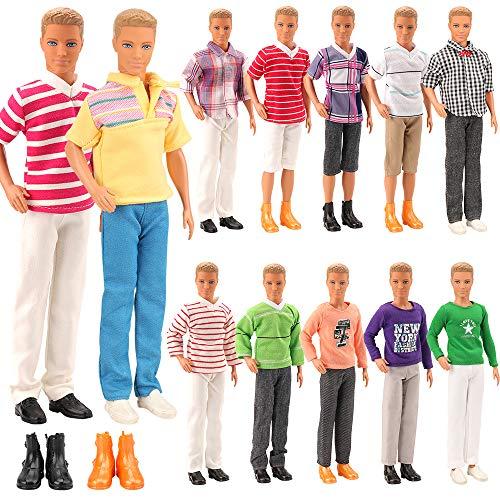 Miunana Lot 8 Items Clothes for Ken Doll EU CE-EN71 Certified Include 3 Sets Casual Wear + 3 Pcs Dolls Pants +2 Shoes