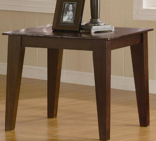Cheap End Table with Faux Crocodile Inlays Border in Warm Brown Finish (VF_701157)