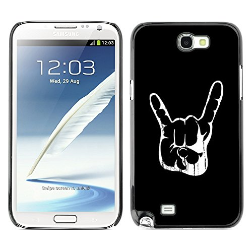 ELEGO Prämie Slim Dünn Schutz Hülle Tasche Slim Case Cover Armor PC / Aluminium Protection /Cool Awesome Rock Hand Sign /Samsung Note 2