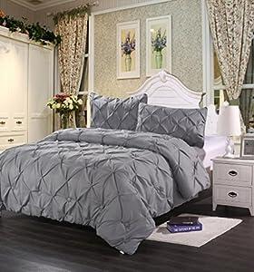 Homehug Pinch Pleat Puckering 1800TC Polyester Queen 3 Piece Comforter Set, Grey